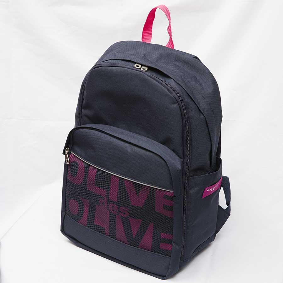 OLIVE des OLIVE  2K30025-88 メッシュポケット付きロゴデイパック(紺×ピンク)