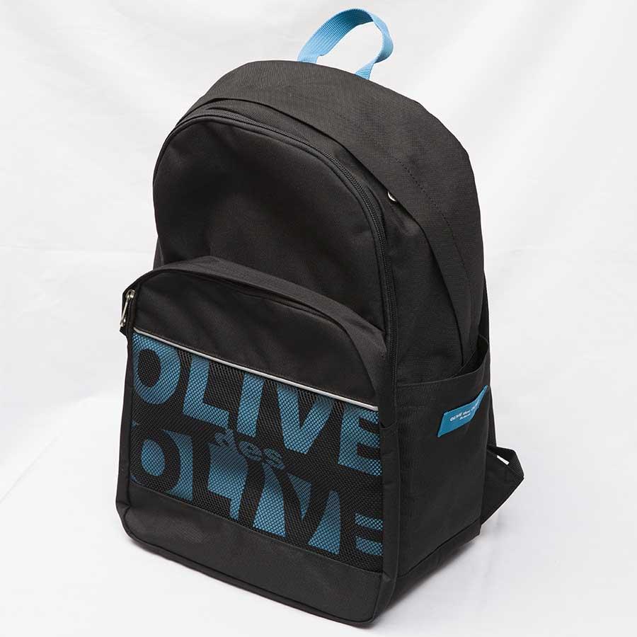 OLIVE des OLIVE  2K30025-09 メッシュポケット付きロゴデイパック(黒×ブルー)