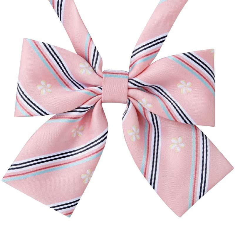 ピンクプルメリアストライプリボン 桜舞う