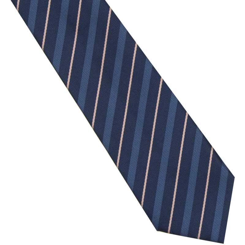 ヘリンボーンストライプ(紺)ネクタイ ビリビリガールズ〜学年ビリから有名私大に合格のギャルが着用するリボンのネクタイ版