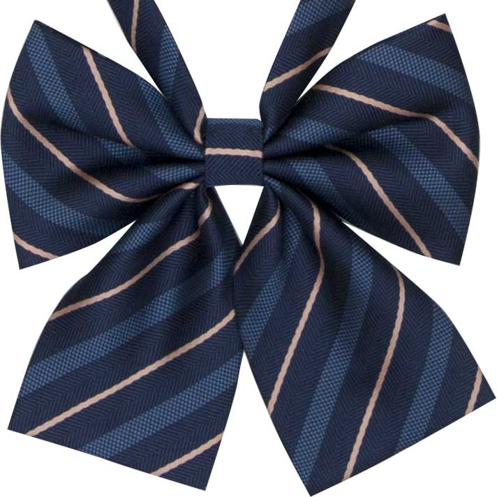ヘリンボーンストライプ(紺)リボン ビリビリガールズ〜学年ビリから有名私大に合格のギャルが着用するリボン