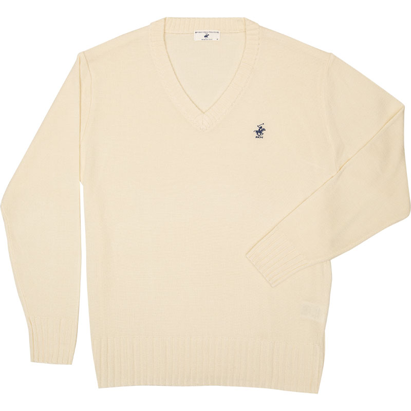 BEVERLY HILLS POLO CLUB ウール混セーター KP911-3 朝霧の古城(オフホワイト)