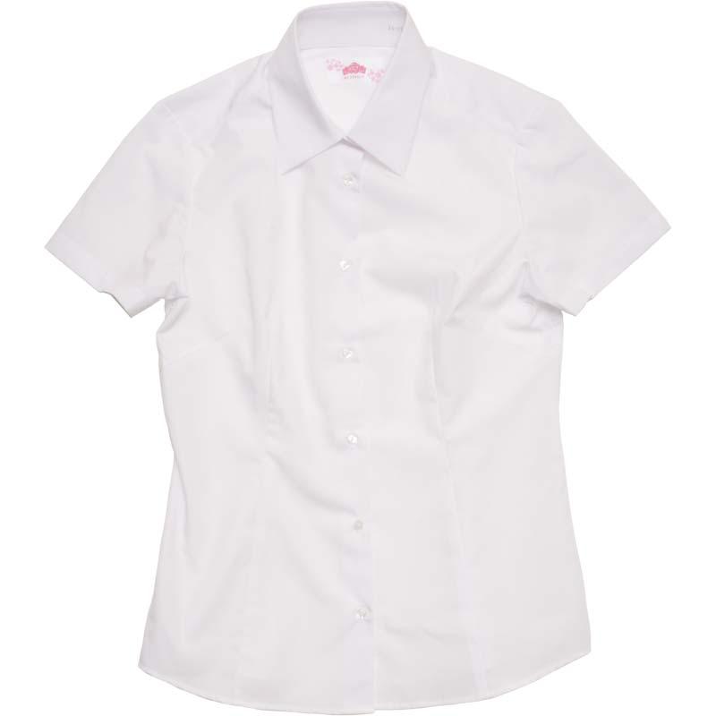 BE STELLA 角襟スリムシャツ(半袖)ポケットなし BS350
