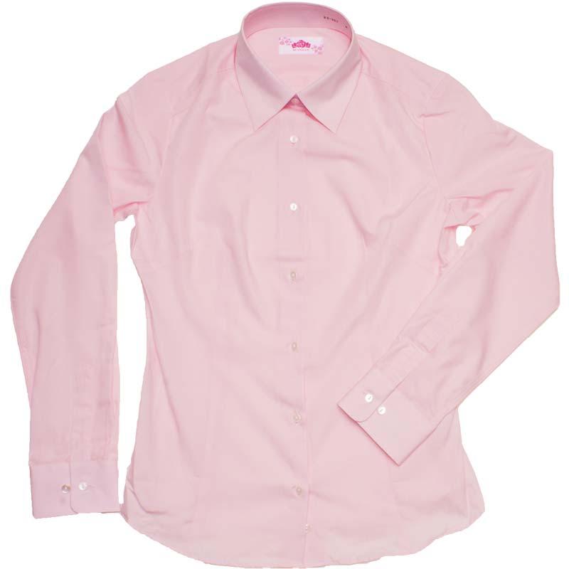 BE STELLA スリムシャツ長袖ポケットなしピンク BS302(JAA)