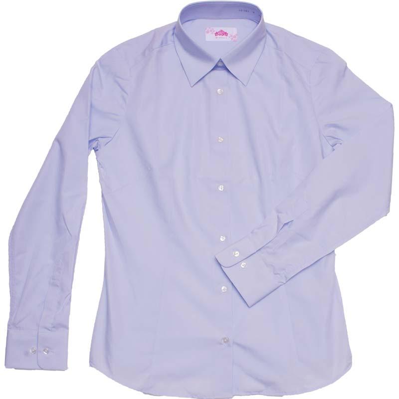 BE STELLA スリムシャツ長袖ポケットなしブルー BS301(JAA)